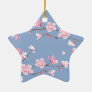 Cherry Blossom - Serenity Blue Ceramic Ornament