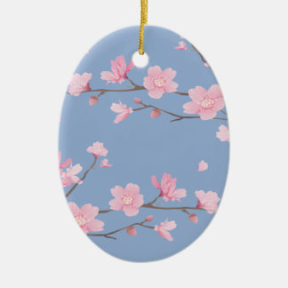 Cherry Blossom - Serenity Blue Ceramic Oval Decoration