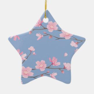 Cherry Blossom - Serenity Blue Ceramic Star Decoration