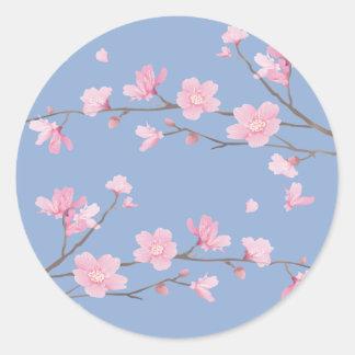 Cherry Blossom - Serenity Blue Classic Round Sticker