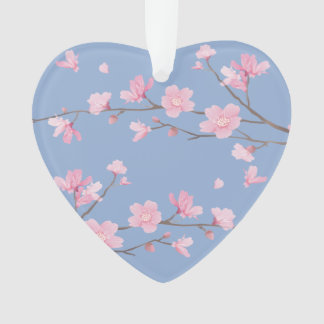 Cherry Blossom - Serenity Blue - HAPPY ANNIVERSARY Ornament