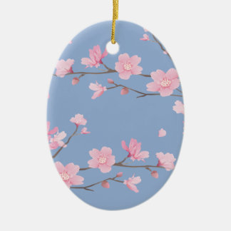 Cherry Blossom - Serenity Blue - HAPPY BIRTHDAY Ceramic Ornament