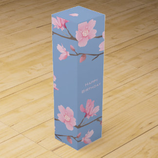 Cherry Blossom - Serenity Blue - Happy Birthday Wine Box