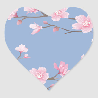 Cherry Blossom - Serenity Blue Heart Sticker