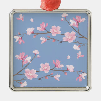 Cherry Blossom - Serenity Blue Metal Ornament