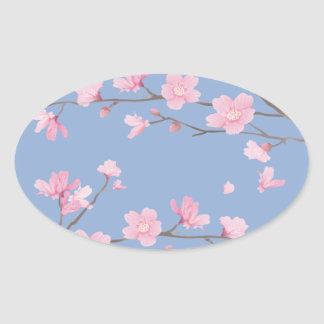 Cherry Blossom - Serenity Blue Oval Sticker