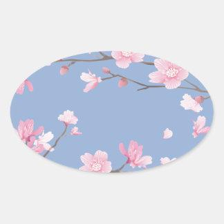 Cherry Blossom - Serenity Blue Oval Sticker