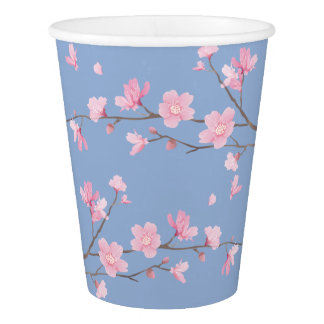 Cherry Blossom - Serenity Blue Paper Cup