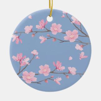 Cherry Blossom - Serenity Blue Round Ceramic Decoration
