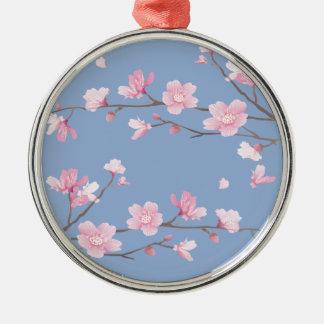 Cherry Blossom - Serenity Blue Silver-Colored Round Decoration