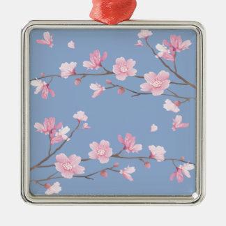 Cherry Blossom - Serenity Blue Silver-Colored Square Decoration