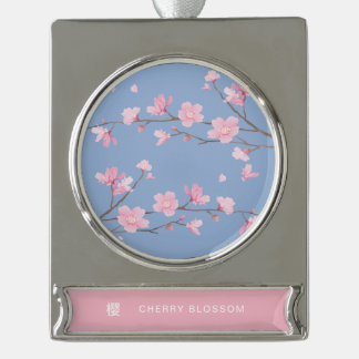 Cherry Blossom - Serenity Blue Silver Plated Banner Ornament