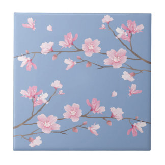 Cherry Blossom - Serenity Blue Small Square Tile