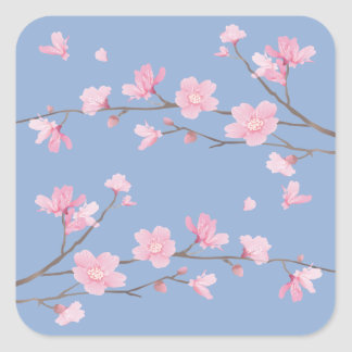 Cherry Blossom - Serenity Blue Square Sticker