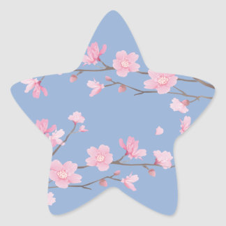 Cherry Blossom - Serenity Blue Star Sticker