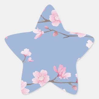 Cherry Blossom - Serenity Blue Star Sticker