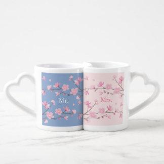 Cherry Blossom - Serenity Blue - Wedding Coffee Mug Set