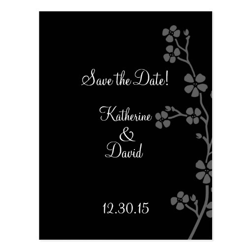 Cherry Blossom Silver/Black Save the Date Postcard