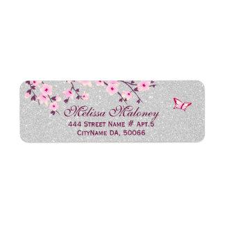 Cherry Blossom Silver Glitter Return Address Label