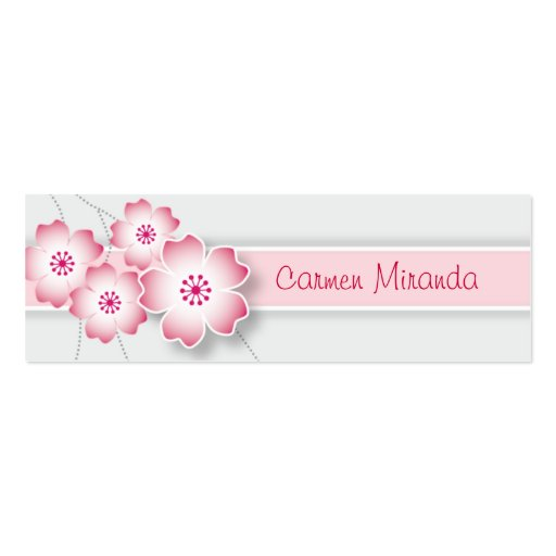 Cherry Blossom Skinny Card Business Card Template