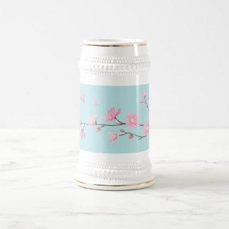 Cherry Blossom - Sky Blue Beer Stein