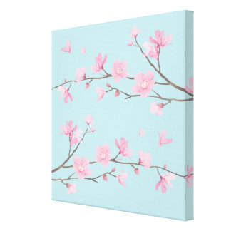 Cherry Blossom - Sky Blue Canvas Print