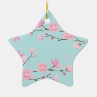 Cherry Blossom - Sky Blue Ceramic Ornament