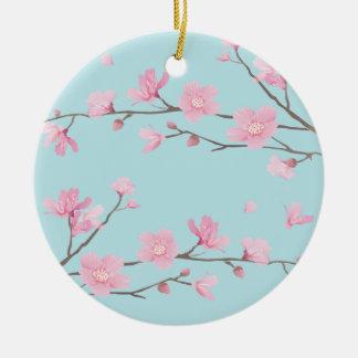 Cherry Blossom - Sky Blue Ceramic Ornament