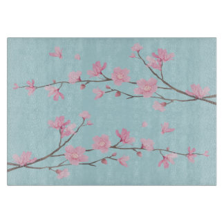 Cherry Blossom - Sky Blue Cutting Board