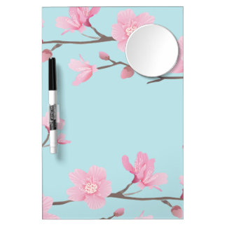 Cherry Blossom - Sky Blue Dry Erase Board With Mirror