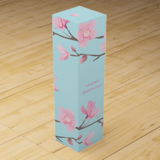 Cherry Blossom - Sky Blue - Happy Birthday Wine Box