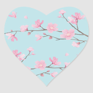 Cherry Blossom - Sky Blue Heart Sticker
