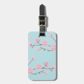 Cherry Blossom - Sky Blue Luggage Tag