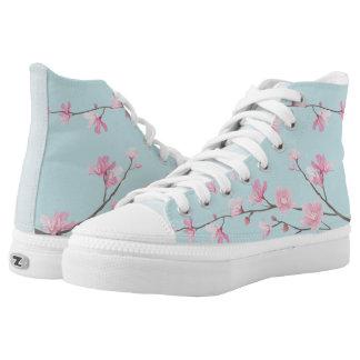 Cherry Blossom - Sky Blue Printed Shoes