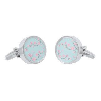 Cherry Blossom - Sky Blue Silver Finish Cuff Links