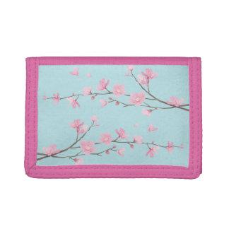 Cherry Blossom - Sky Blue Tri-fold Wallets