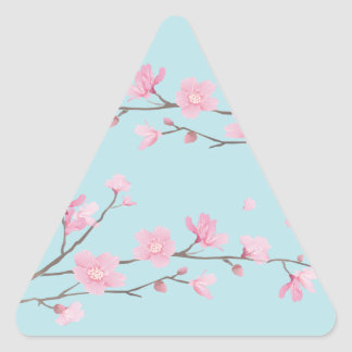 Cherry Blossom - Sky Blue Triangle Sticker