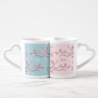 Cherry Blossom - Sky Blue - Wedding Coffee Mug Set
