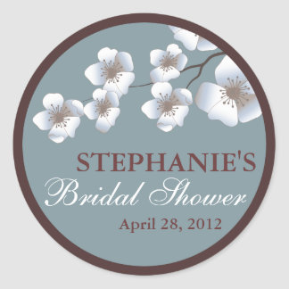 Cherry Blossom Springtime Bridal Shower Dusty Blue Round Sticker