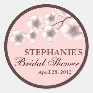 Cherry Blossom Springtime Bridal Shower Label Pink Round Sticker