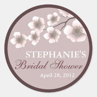 Cherry Blossom Springtime Bridal Shower Label Plum Round Sticker