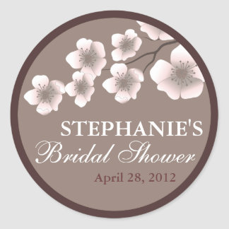 Cherry Blossom Springtime Bridal Shower Label Round Sticker