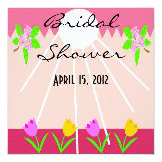 """Cherry Blossom Sun Shower Invitation 5.25"""" Square Invitation Card"""