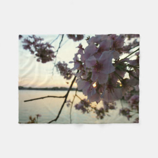 Cherry Blossom Sunset in Washington DC Fleece Blanket