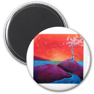 Cherry Blossom Sunset 6 Cm Round Magnet