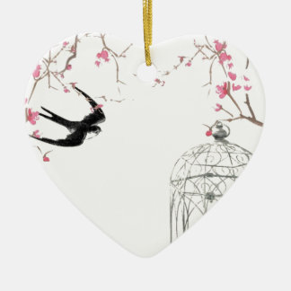 Cherry blossom, swallow, birdcage design ceramic ornament