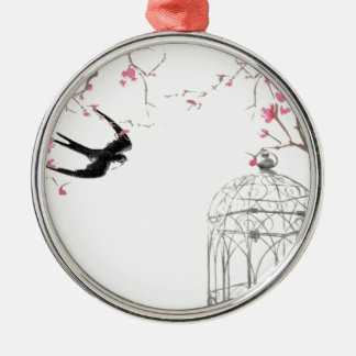 Cherry blossom, swallow, birdcage design metal ornament
