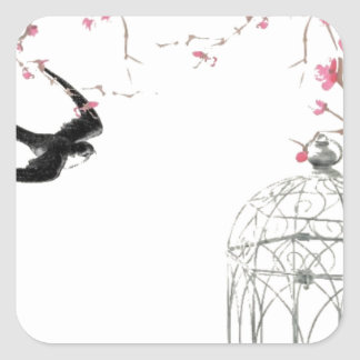 Cherry blossom, swallow, birdcage design square sticker
