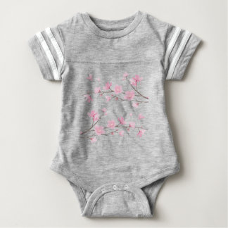 Cherry Blossom - Transparent-Background Baby Bodysuit