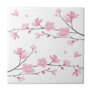 Cherry Blossom - Transparent-Background Ceramic Tile
